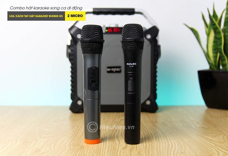Combo Loa karaoke xách tay W-King K3 + Micro Daile V10 - Hát song ca cực hay 05