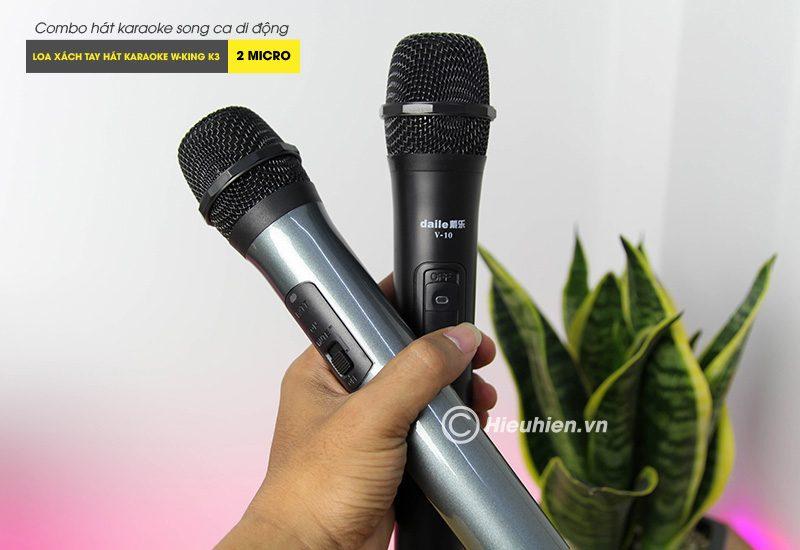 Combo Loa karaoke xách tay W-King K3 + Micro Daile V10 - Hát song ca cực hay 07