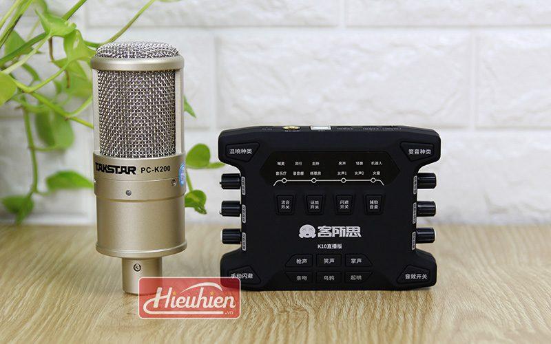combo mic takstar pc k200 và sound card xox k10x 2018 - mic và soundcard