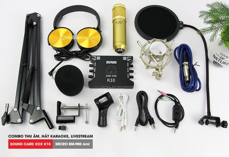 combo micro ami bm 900 + sound card k10 xox - thu âm hát live stream, karaoke giá rẻ - bộ phụ kiện