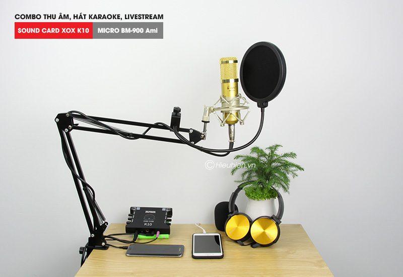 combo micro ami bm 900 + sound card k10 xox - thu âm hát live stream, karaoke giá rẻ - giá đỡ