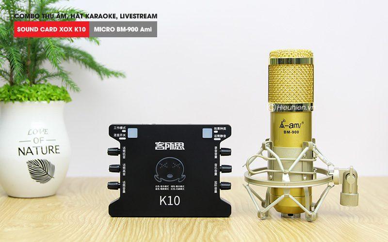 combo micro ami bm 900 + sound card k10 xox - thu âm hát live stream, karaoke giá rẻ - soundcard