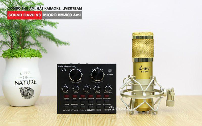 combo micro ami bm 900 + sound card v8 - thu âm hát live stream, karaoke giá rẻ - soundcard và micro