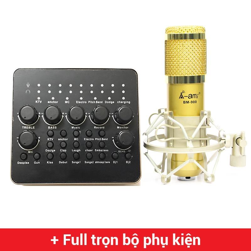 combo micro ami bm900 và sound card v10 mic thu âm hát karaoke hát livestream