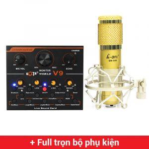 Combo Micro AMI BM900 + Sound Card V9 - Thu âm hát live stream, karaoke giá rẻ