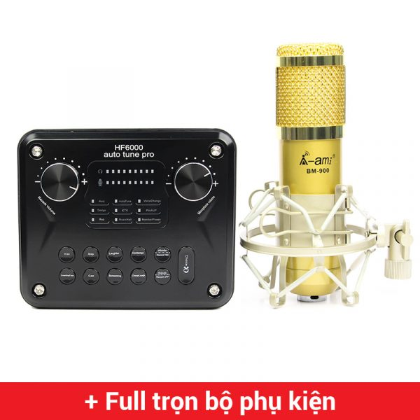 Combo Micro AMI BM900 + Soundcard HF6000 Pro - Thu âm hát live stream, karaoke giá rẻ