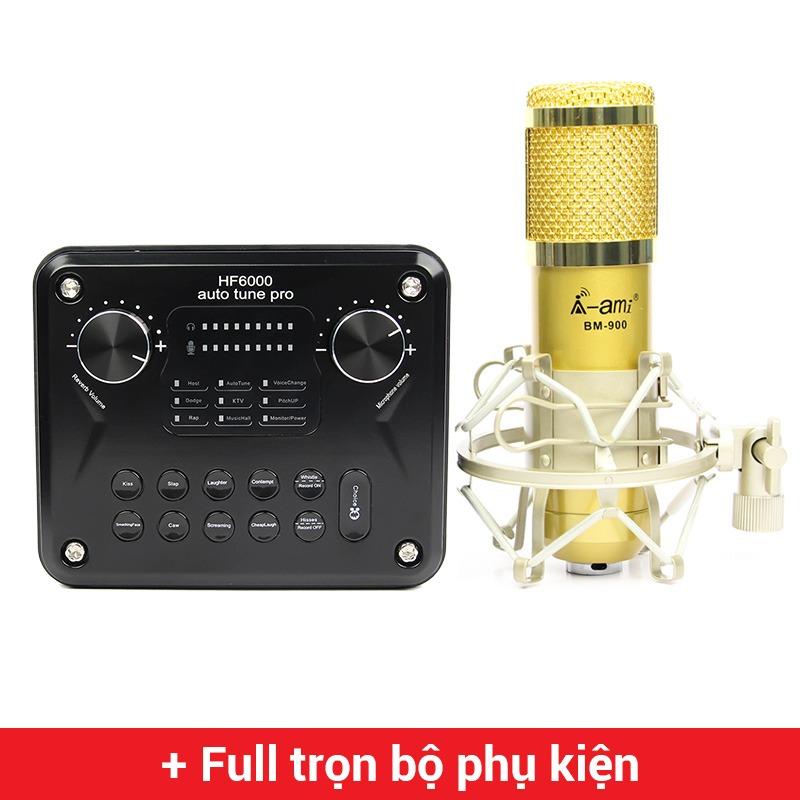 combo micro ami bm900 + hf6000 pro soundcard - thu âm hát live stream, karaoke giá rẻ
