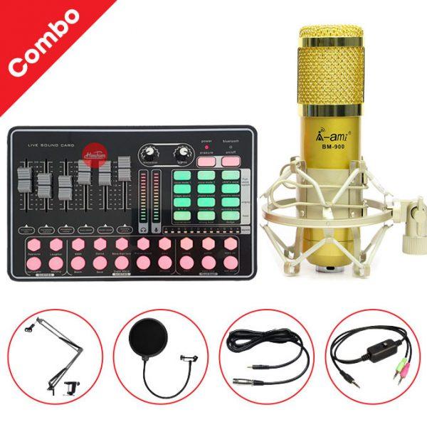 Combo Micro AMI BM900 và Soundcard MKAI H9 - Thu âm hát live stream, karaoke giá rẻ