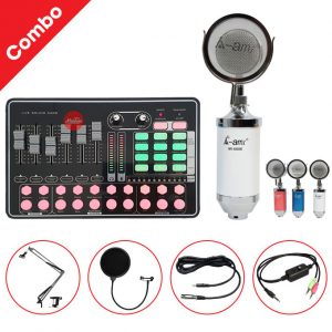 Combo Micro AMI MI6000 và Soundcard MKAI H9 - Thu âm hát live stream, karaoke giá rẻ