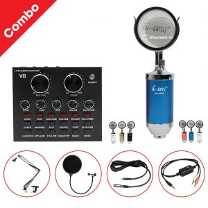 Combo Micro AMI MI6000 và Soundcard V8 - Thu âm hát livestream