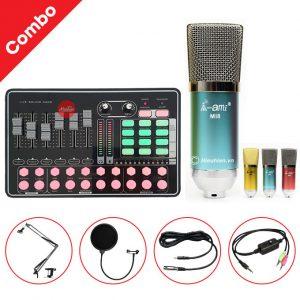Combo Micro AMI MI8 và Soundcard MKAI H9 - Thu âm hát live stream, karaoke giá rẻ