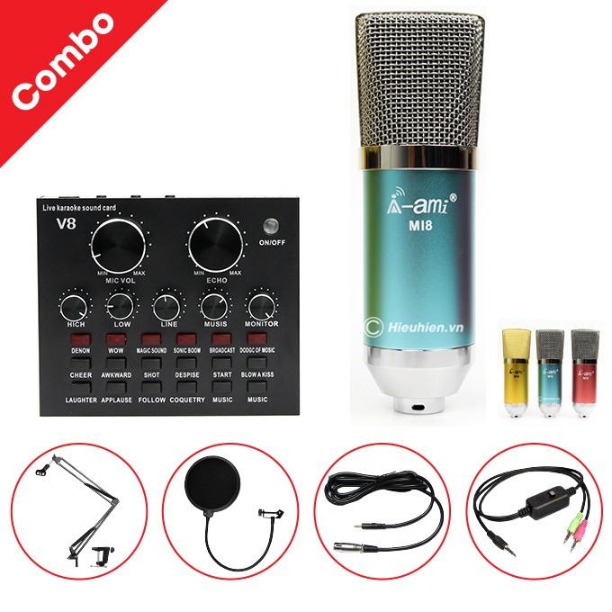 Combo Micro AMI MI8 và Soundcard V8 - Thu âm hát live stream, karaoke giá rẻ