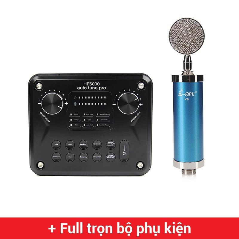 combo micro ami v9 + sound card hf6000 pro - thu âm hát live stream, karaoke giá rẻ
