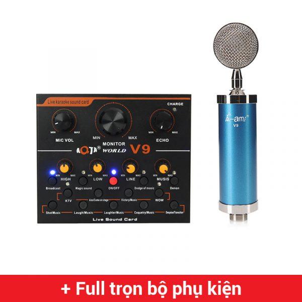 Combo Micro AMI V9 + Sound Card V9 - Thu âm hát live stream, karaoke giá rẻ