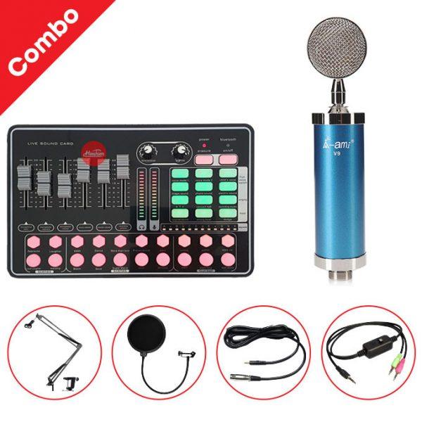 Combo Micro AMI V9 và Soundcard MKAI H9 - Thu âm hát live stream, karaoke giá rẻ