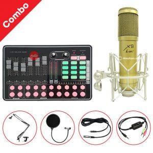 Combo Micro AMI X9 và Soundcard MKAI H9 - Thu âm hát live stream, karaoke giá rẻ