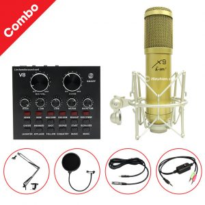Combo Micro AMI X9 và Soundcard V8 - Thu âm hát live stream, karaoke giá rẻ