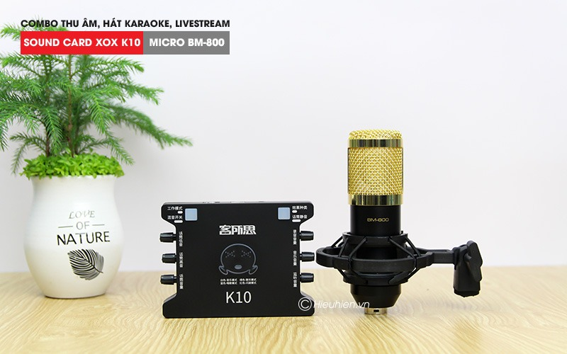 combo micro thu am bm 800 + sound card xox k10 hat live stream, karaoke gia re