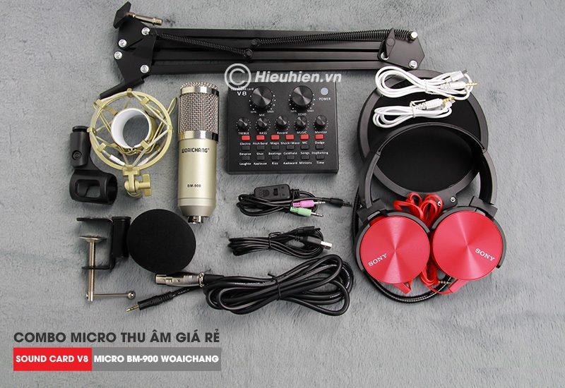 trọn bộ combo micro thu âm bm 900 woaichang + sound card v8 giá rẻ - hình 02