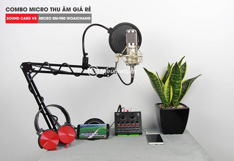 trọn bộ combo micro thu âm bm 900 woaichang + sound card v8 giá rẻ - hình 03