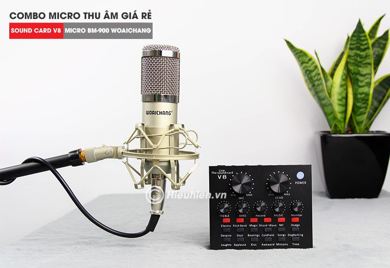 trọn bộ combo micro thu âm bm 900 woaichang + sound card v8 giá rẻ - hình 08
