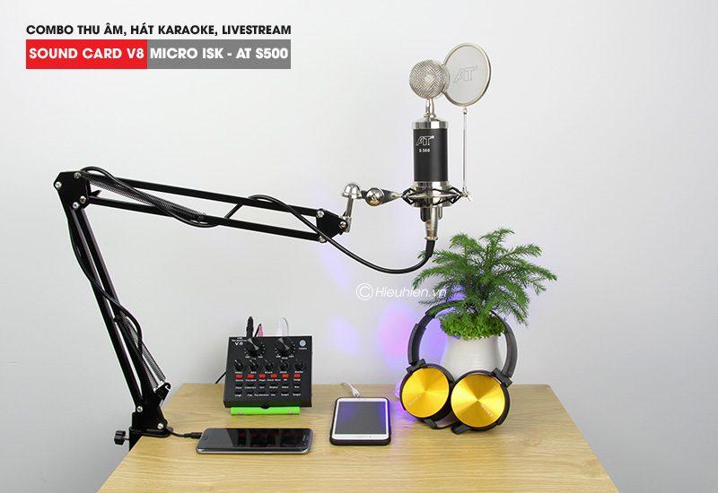 combo micro isk at s500 + sound card v8 - thu âm hát live stream, karaoke giá rẻ - giá đỡ