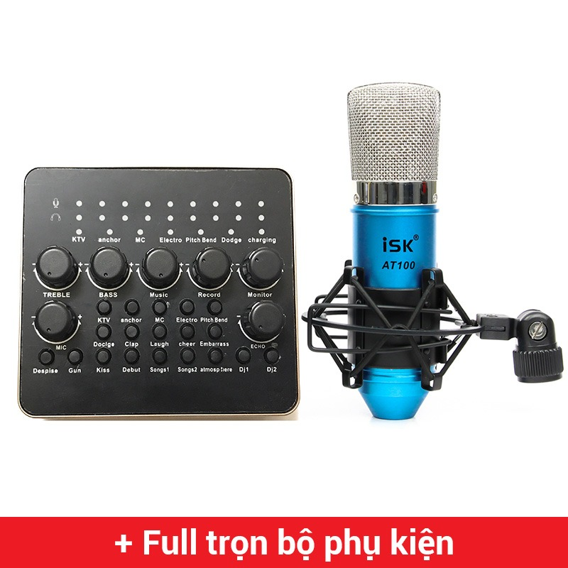 Combo Micro ISK AT100 + Sound Card V10 - Thu âm hát live stream, karaoke giá rẻ