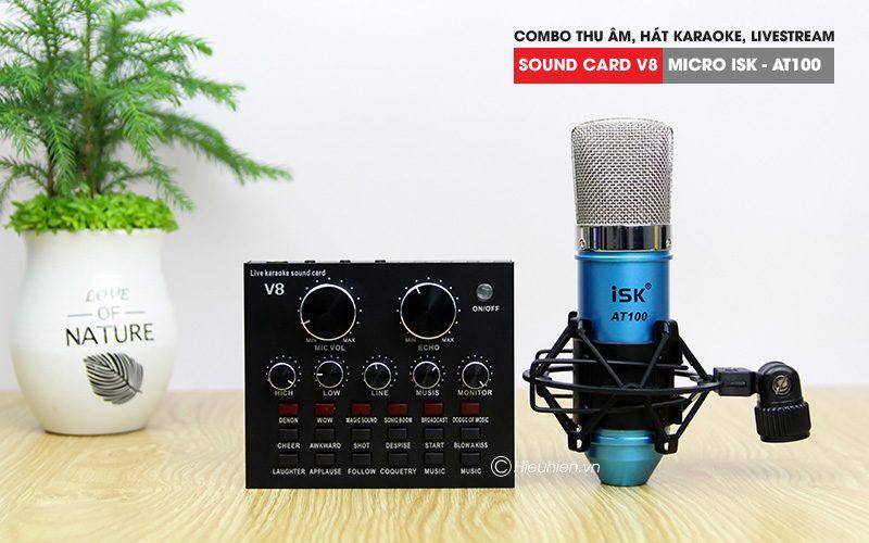 combo micro isk at100 + sound card v8 - thu âm hát live stream, karaoke giá rẻ - hình 01