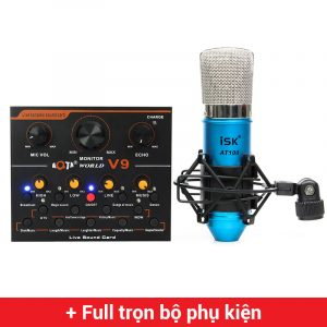 Combo Micro ISK AT100 + Sound Card V9 - Thu âm hát live stream, karaoke giá rẻ