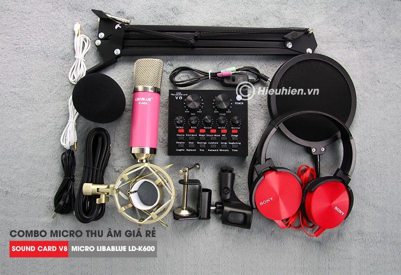 combo micro libablue ld-k600 + sound card v8 - thu âm hát live stream, karaoke giá rẻ - trọn bộ