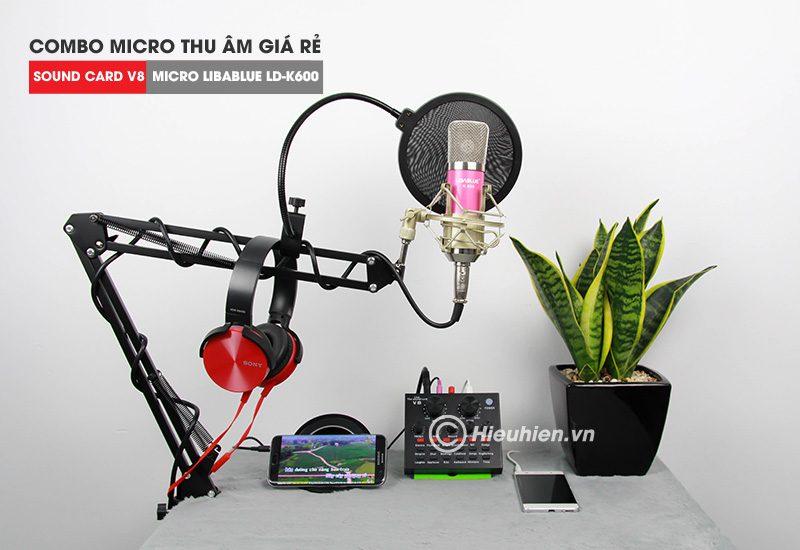 combo micro libablue ld-k600 + sound card v8 - thu âm hát live stream, karaoke giá rẻ - giá đỡ