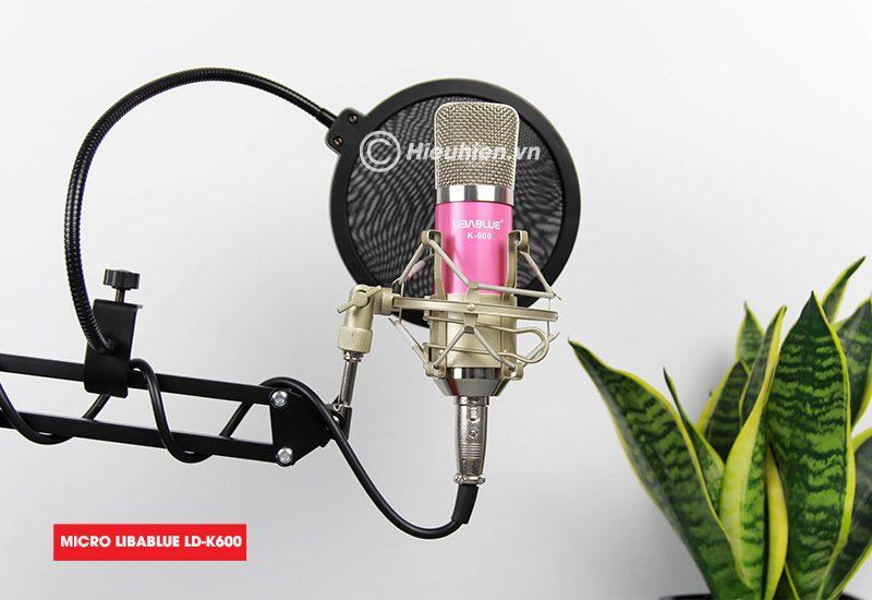 combo micro libablue ld-k600 + sound card v8 - thu âm hát live stream, karaoke giá rẻ - màn lọc âm