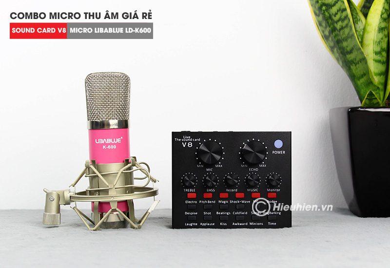combo micro libablue ld-k600 + sound card v8 - thu âm hát live stream, karaoke giá rẻ - soundcard