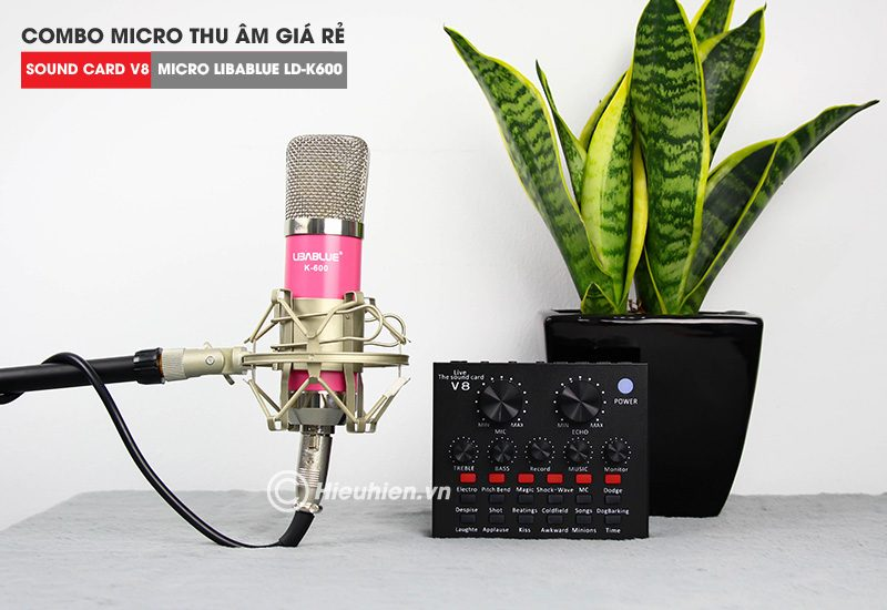 combo micro libablue ld-k600 + sound card v8 - thu âm hát live stream, karaoke giá rẻ - mic và soundcard