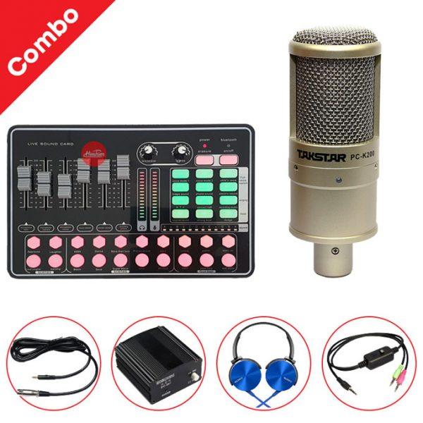 Combo Micro Takstar K200 và Soundcard MKAI H9 - Thu âm hát live stream, karaoke giá rẻ