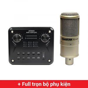 Combo Micro Takstar PC-K200 + HF6000 Pro Soundcard - Thu âm hát live stream, karaoke giá rẻ