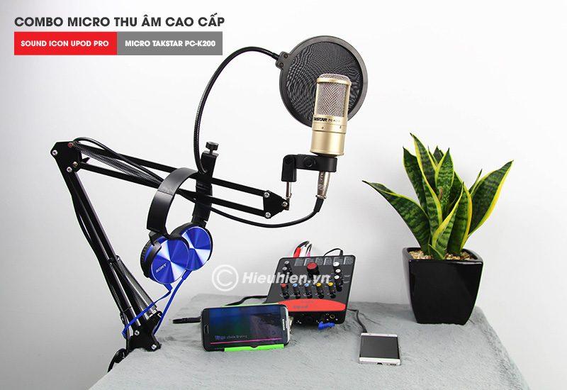 combo micro takstar pc-k200 + icon upod pro sound card cao cấp - trọn bộ phụ kiện tặng tai nghe