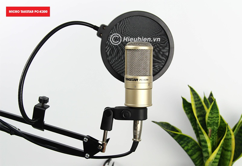 combo micro takstar pc-k200 + icon upod pro sound card cao cấp - màn lọc âm