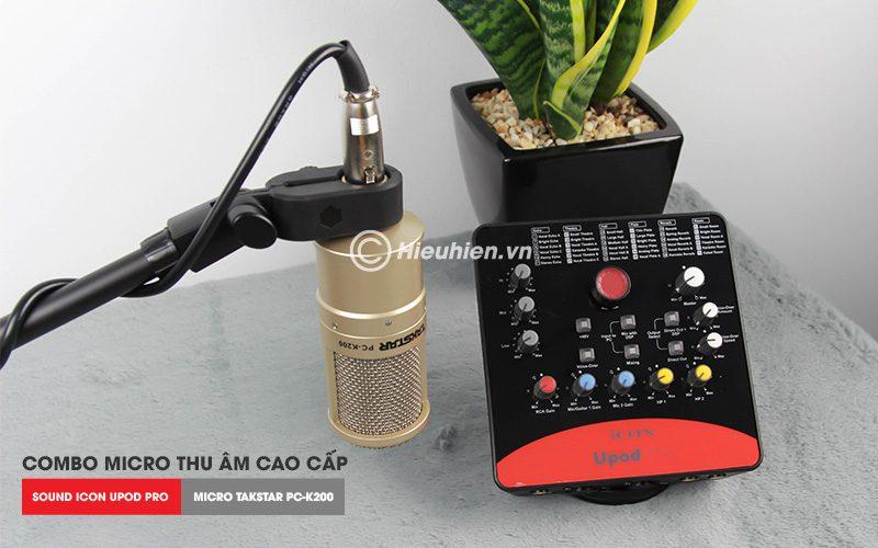 combo micro takstar pc-k200 + icon upod pro sound card cao cấp - micro