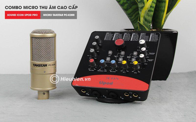 combo micro takstar pc-k200 + icon upod pro sound card cao cấp - mic và soundcard