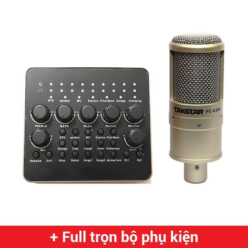 combo micro takstar pc-k200 + sound card v10 - thu âm hát live stream, karaoke giá rẻ