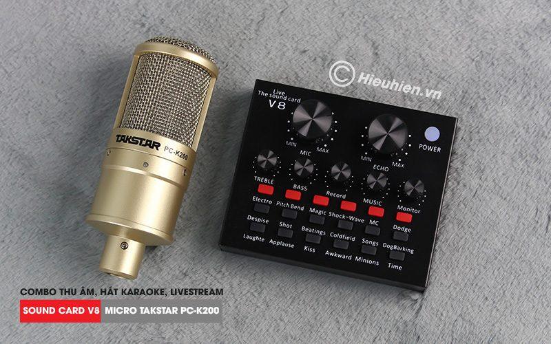 combo micro takstar pc-k200 + sound card v8 - thu âm hát live stream, karaoke giá rẻ - mặt trước