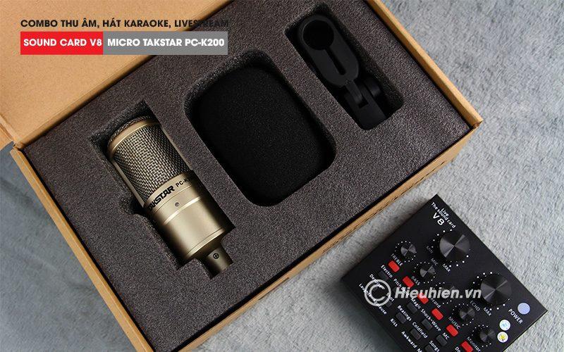 combo micro takstar pc-k200 + sound card v8 - thu âm hát live stream, karaoke giá rẻ - bộ micro