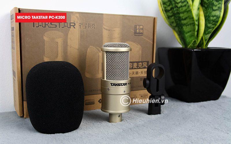 combo micro takstar pc-k200 + sound card v8 - thu âm hát live stream, karaoke giá rẻ - phụ kiện micro