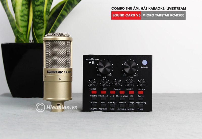 combo micro takstar pc-k200 + sound card v8 - thu âm hát live stream, karaoke giá rẻ - soundcar và micro