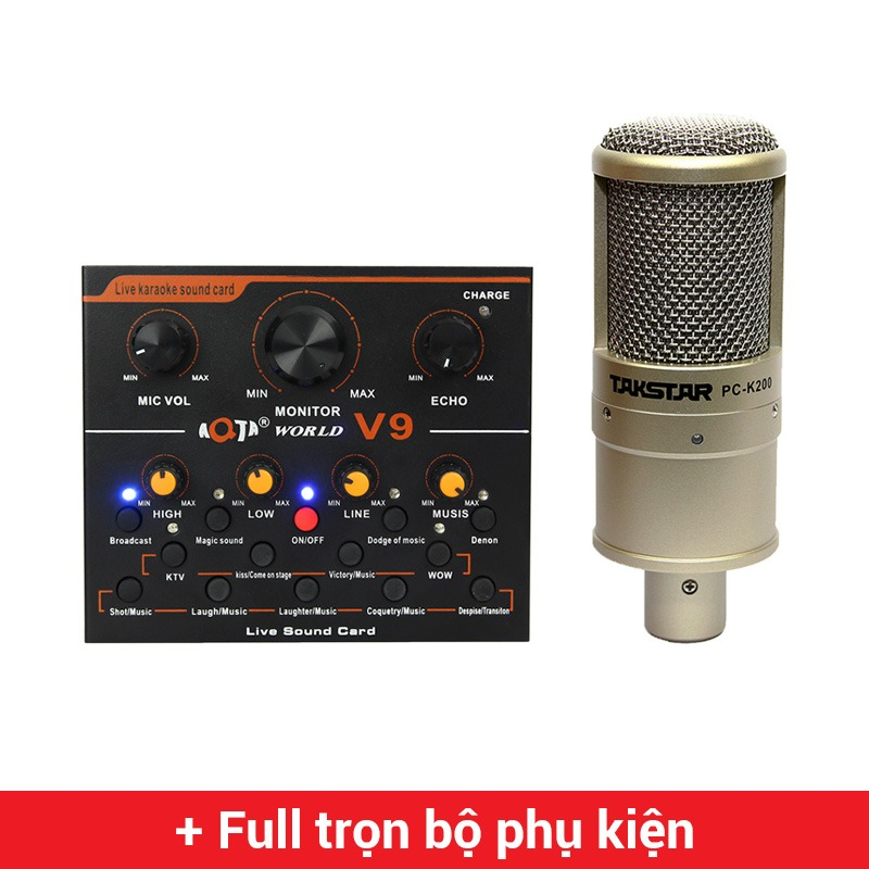Combo Micro Takstar PC-K200 + Sound Card V9 - Thu âm hát live stream, karaoke giá rẻ