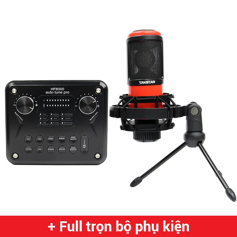 combo micro takstar pc-k320 và soundcard hf6000 pro chuyên thu âm hát livestream , karaoke