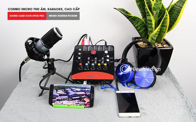 combo micro takstar pc-k320 + icon upod pro sound card - bộ thu âm hát live chuyên nghiệp - tặng tại nghe