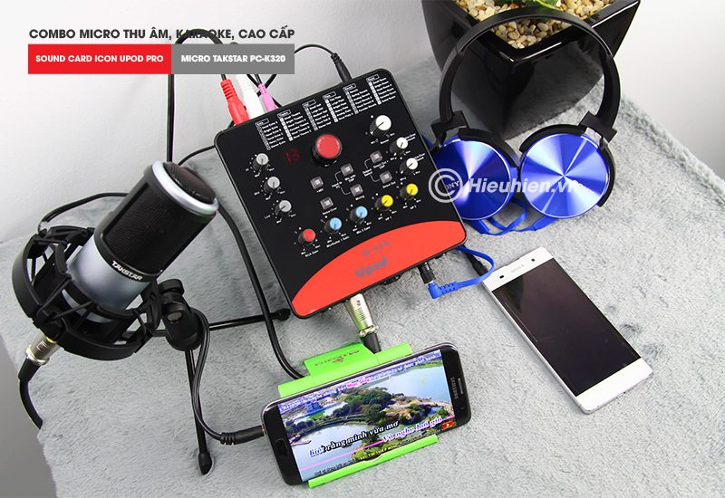 combo micro takstar pc-k320 + icon upod pro sound card - bộ thu âm hát live chuyên nghiệp - lắp đặt đơn giản