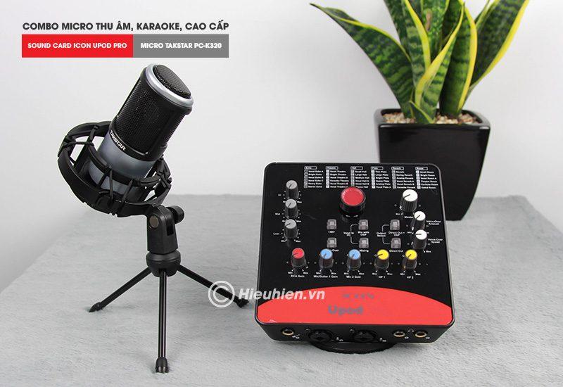combo micro takstar pc-k320 + icon upod pro sound card - bộ thu âm hát live chuyên nghiệp - micro màu xám